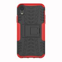 Stoßfeste Autoreifentasche TPU iPhone XR Hülle mit Ständer - Rot
