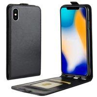 Leder iPhone XS Max Flip Case Hülle - Schwarz
