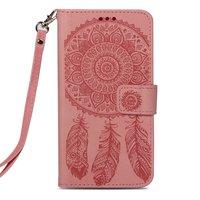 Dreamcatcher Leder iPhone XS Max Brieftasche Bücherregal Hülle - Pink