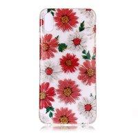 Glitter Blumen TPU iPhone XS Max Hülle - Rot Weiß
