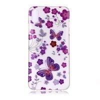 Durchscheinende Blumen und Schmetterling iPhone XS Max - Lila