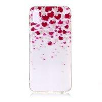 Flexible TPU Herzen und Blumen Hülle für iPhone XS Max - Pink Red