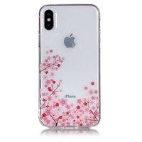 Klare flexible TPU Hülle Kleine Blumen iPhone X XS - Pink