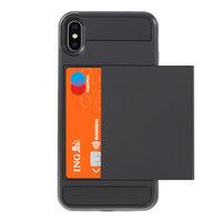 Geheime Kartenhalterhülle für iPhone XS Max Hardcase Wallet Wallet - Schwarz