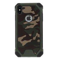 TPU Soft Camouflage Kunstledertasche für iPhone XS Max Cover - Grün