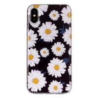 Schöne Blume TPU Hülle für iPhone X XS - Gänseblümchen schwarz