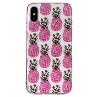 Rosa Ananas TPU Hülle für iPhone X XS Abdeckung - Weiße Hülle