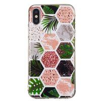 Sechsecke Drucken Sie weiche TPU-Hülle für iPhone X XS-Hülle - Blätter und Marmor