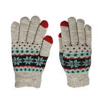 Winter-Touchscreen Strickhandschuhe - Schneeflocken grau