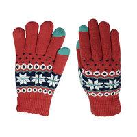 Winter Touchscreen Strickhandschuhe - Schneeflocken Rot