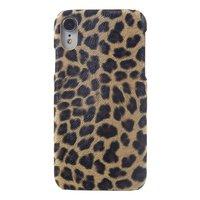 Leopard Panther Print iPhone XR Hartschalen-Kunstleder - Brown Leopard Panther Textur