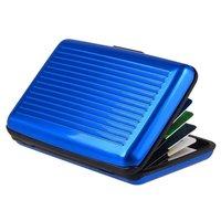 Aluminium Metall Kartenhalter Nicht magnetisch - 6 Fächer Blau