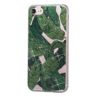 Glitter Powder Hülle TPU iPhone 7 8 SE 2020 - Grüne Blätter