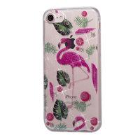 Glitter Powder Hülle TPU iPhone 7 8 SE 2020 - Flamingos und Blätter